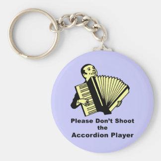 No tire por favor al jugador del acordeón llavero redondo tipo pin