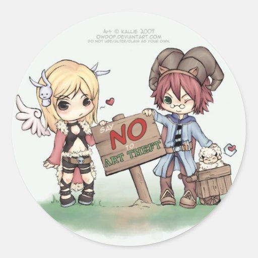NO to ART THEFT Classic Round Sticker