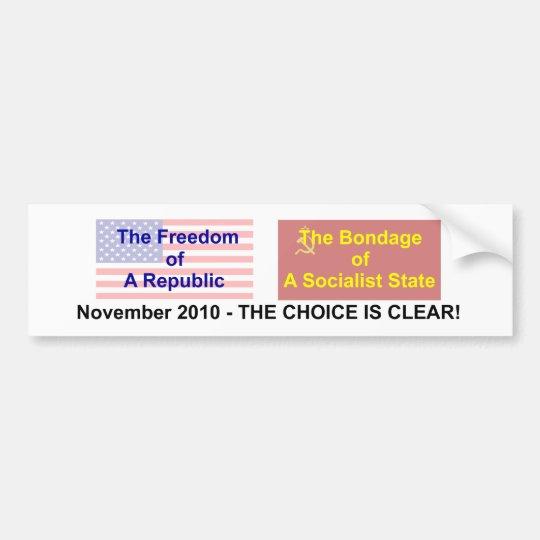 No to Socialism Bumper Sticker