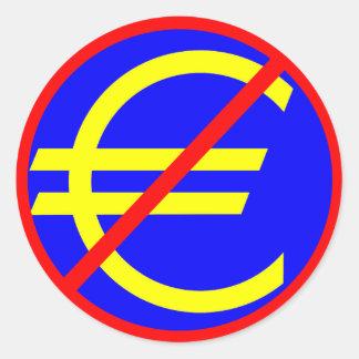 No to the Euro Classic Round Sticker