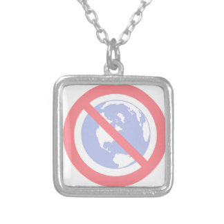 No to the Globe - Flat Earth Silver Plated Necklace