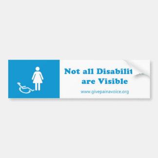 No todas las incapacidades son mujer visible pegatina para auto