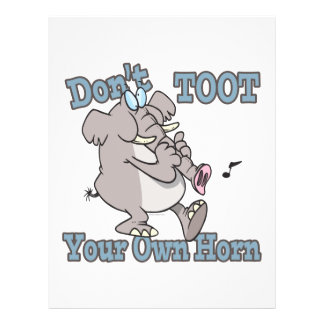"no toot su propio dibujo animado del elefante del  folleto 8.5"" x 11"""