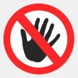 No toque etiqueta redonda