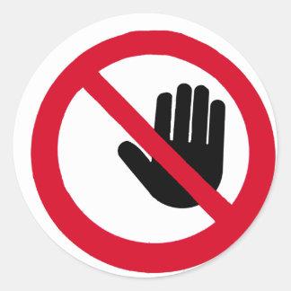 ¡No toque!!! Etiquetas Redondas