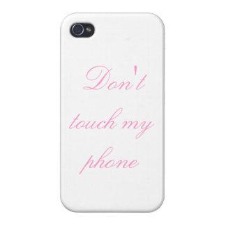 No toque mi teléfono 3 - el rosa en blanco - iPhone 4 carcasas