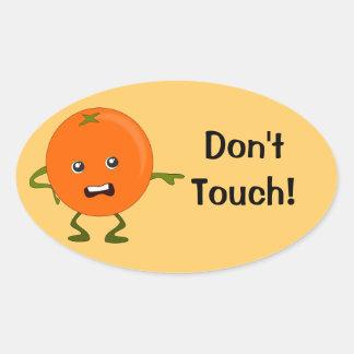 ¡No toque! Personaje de dibujos animados Pegatina Ovalada