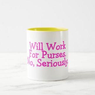 No trabajará para los monederos ningún seriamente taza de dos tonos
