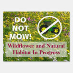 No Tractor Do Not Mow Wildflower Habitat Sign Yard Signs