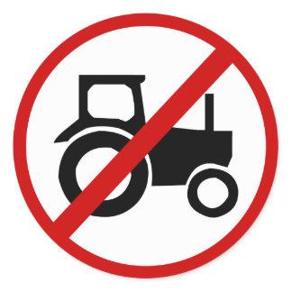 no-tractors classic round sticker