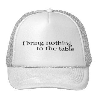 No traigo nada a la tabla gorras