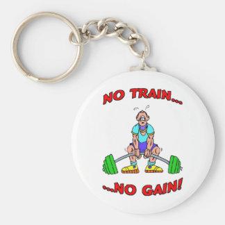 No Train No Gain! Basic Round Button Keychain