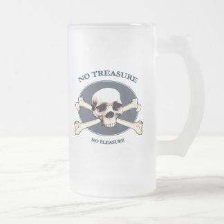 No Treasure Pirate Skull Frosted Glass Beer Mug