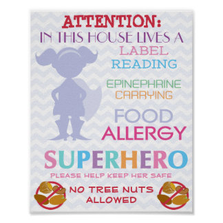 No Tree nuts Allowed Superhero Girl Sign for Home