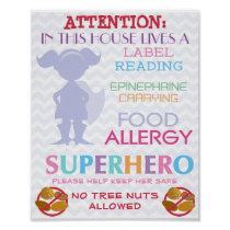 No Tree nuts Allowed Superhero Girl Sign for Home Poster