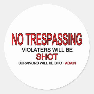 No Trespassing Classic Round Sticker