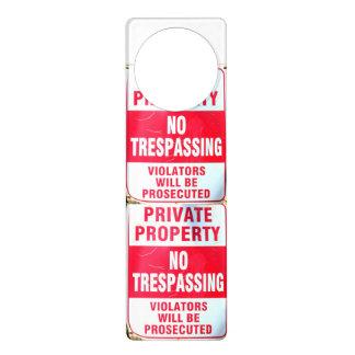 no trespassing door hanger