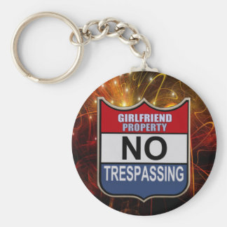 NO TRESPASSING - GIRLFRIEND BASIC ROUND BUTTON KEYCHAIN