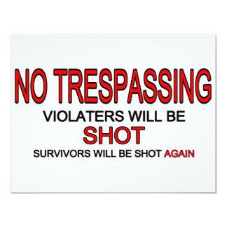 No Trespassing 4.25x5.5 Paper Invitation Card