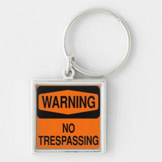 No trespassing keychain