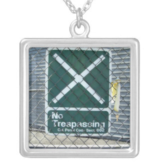 No Trespassing Square Pendant Necklace