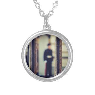 No trespassing round pendant necklace