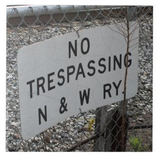 No Trespassing Norfolk and Western Railway Tile