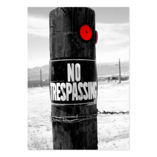 No Trespassing Reflector (B/W) Large Business Cards (Pack Of 100)