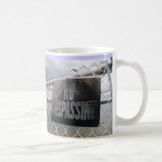 No Trespassing sign lake ocean Coffee Mug