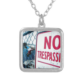 No Trespassing Silver Plated Necklace
