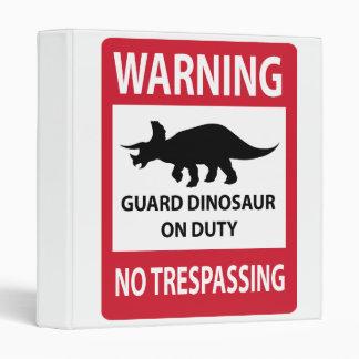 No Trespassing (Triceratops) Sign Vinyl Binders
