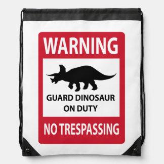 No Trespassing (Triceratops) Sign Cinch Bag