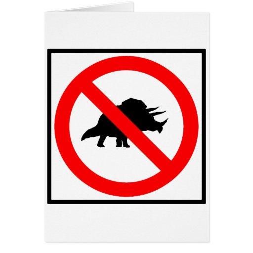 No Triceratopses Highway Sign Dinosaur Greeting Card