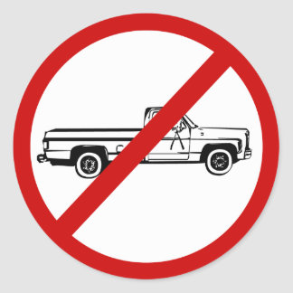 no-trucks classic round sticker