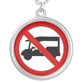 NO Tuk-Tuk TAXI ⚠ Thai Road Sign ⚠ Silver Plated Necklace