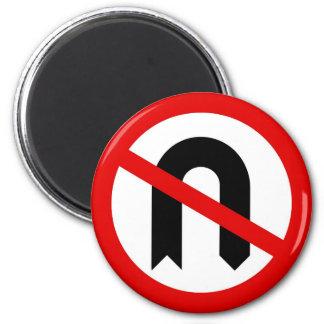 No U Turn 2 Inch Round Magnet
