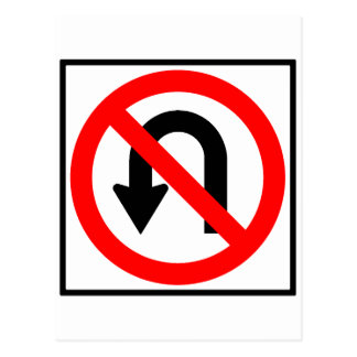 No U-Turn Highway Sign Postcard