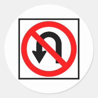 No U-Turn Highway Sign Round Stickers