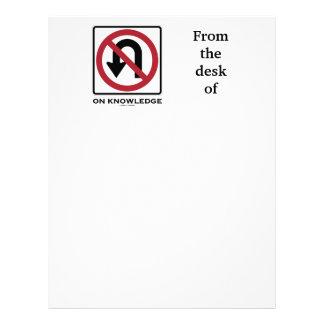 No U-Turn On Knowledge (No U-Turn Sign Humor) Letterhead