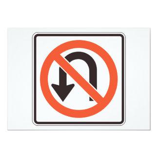 No U Turn Sign Invitations