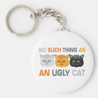 No Ugly Cats Keychain
