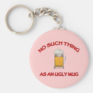 No Ugly Mug Basic Round Button Keychain