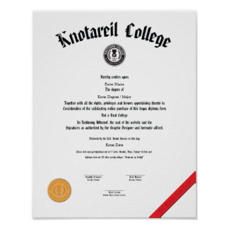 No un diploma real 11 x 14 de la universidad impresiones