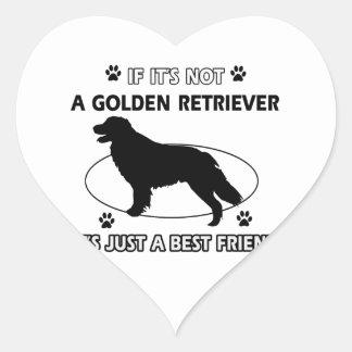 No un golden retriever pegatina en forma de corazón