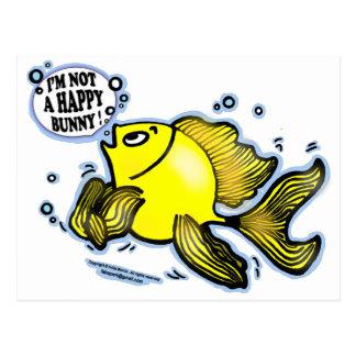 No un pescado feliz del conejito postales