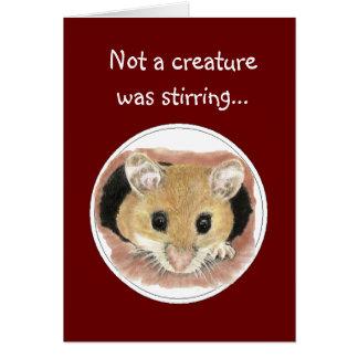 No una criatura revolvía el ratón del navidad de tarjeta de felicitación