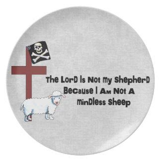 No una oveja despreocupada plato de cena