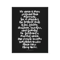 No Union is More Profound Love Marriage Quote Canvas Print