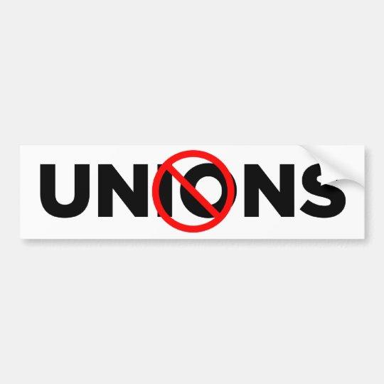 No Unions Bumper Sticker