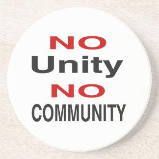 No unity no community sandstone coaster